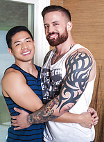 Asian Gay Boy Cooper Dang gets fucked by Tatted stud, Jordan Levine